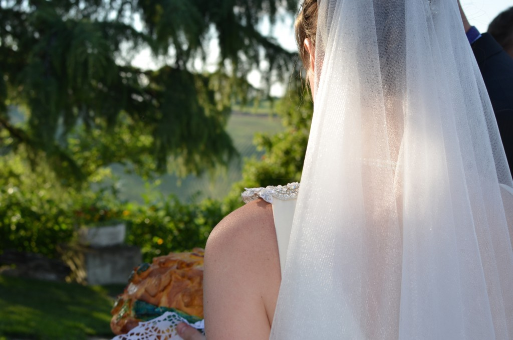 Light filters through the veil of the bride.